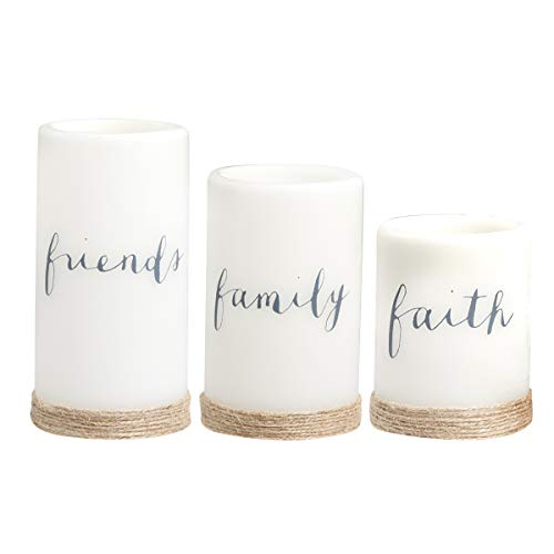 Apothecary 3-Piece Flickering LED Candle Set with Automatic Daily Timer, Flameless Candles, Real Wax, Battery Powered, Light Dances and Flickers, Twine Wrapped Tiered Pillars (Friends, Family, Faith) ()