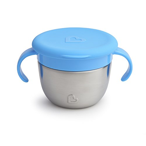 Munchkin Stainless Steel Snack Catcher with Lid, 9 Ounce, Blue Baby Boy Fresh Cookies