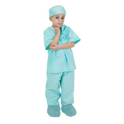 Jr. Dr. Scrubs Costume in Green Size: Size 2 / 3