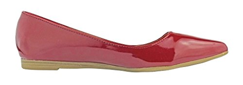 Pierre Dumas Womens Abby-10 Vegan Leather Pointed Toe Slip-On Fashion Dress Flats Shoes Red Patent QlQgS