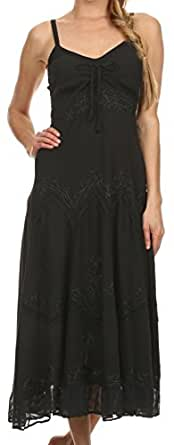 AA4012 - Stonewashed Rayon Embroidered Adjustable Spaghetti Straps Long Dress ( Various Colors & Sizes ) - Black - 1X/2X