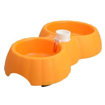 orange KTYX Pet Plastic Bowl Pet Double Bowl Feeding Water Bottle A Bowl of Dual-use Dog Food Bowl Cat Food Pet Bowl (color   orange)