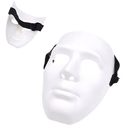 Gleader Mascara de Hombre para Halloween Fiesta de Disfraces - Blanco