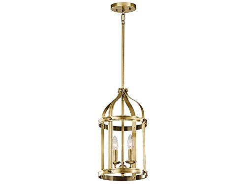 Kichler 43105NBR Steeplechase 2-Light Foyer Pendant, Natural Brass Finish