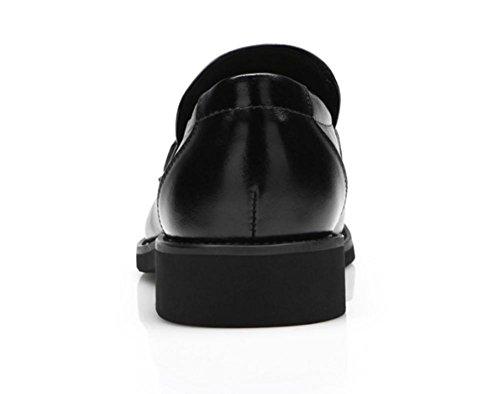 Antideslizante Trabajo Swnx Formal Hombre Tamaño Casual Genuino Negro Cuero Hecha Mano De Negocios 47 Zapatos 39 41 Boda Vestido 47 Goma Black A Black 8rq80