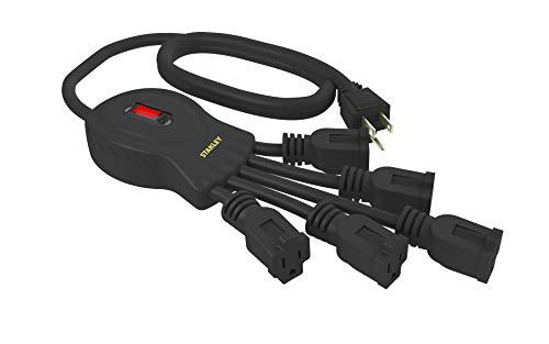 Stanley 31503 PowerSquid 5 Outlet Flexible Outlet Multiplier, Black