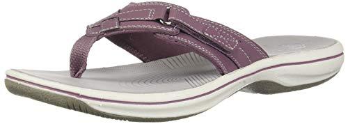 CLARKS Women's Breeze Sea Flip-Flop, Purple Synthetic, 080 M US from Clarks