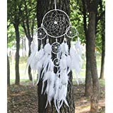 Artistic Big Hot White Dreamcatcher Wind Chimes Indian Style Pearl Feather Pendant Dream