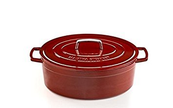 Martha Stewart Collection Collector's Enameled Cast Iron 8 Qt. Oval Casserole in Cranberry