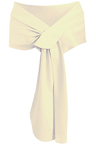 Meet Edge Women's Satin Shawl Wrap For Evening/Wedding Party Champagne (Dresses Bridal Silk)