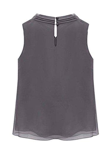 IUGENQL Tunique Casual Grey Tops Slim Femme Hipster Mousseline Papillon Hauts Blouse Fit Blouse Noeud sans Manches avec Chemise ElGant FFprSTx