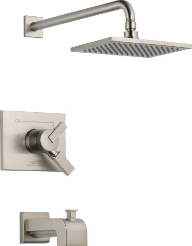 Delta Faucet Vero 17 Series Dual-Function Tub and Shower Trim Kit with Single-Spray Touch-Clean Rain Shower Head, Stainless T17453-SS (Valve Not - Vero Delta Tub