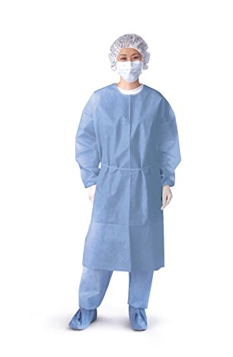 Medline NON27279OH Open Back Coated Isolation Gowns, Latex Free, Regular/Large, Blue (Pack of 50) by Medline (Image #1)