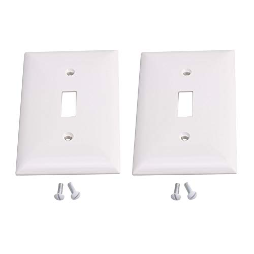 2pcs Light Switch Cover 1 Gang Toggle Plate Cover Plastic Wa