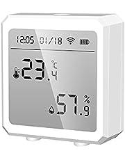 Riiai Tuya WIFI Temperatuur en Vochtigheid Sensor Controller Meter,LCD Display Indoor Hygrometer Thermometer voor Alexa Google Smart Home
