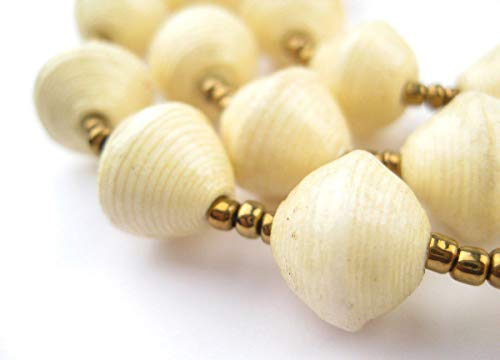 - Recycled Paper Bead Necklace from Uganda - Fair Trade African Jewelry by The Bead Chest (Cream White)