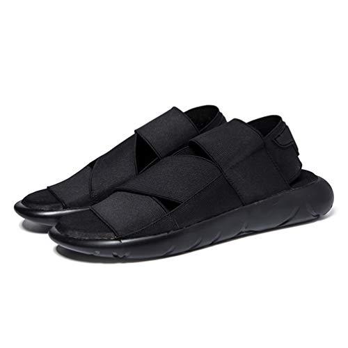 Open Sandali Pelle in All'Aperto Uomo Dita Pantofole Nero wR4TPP