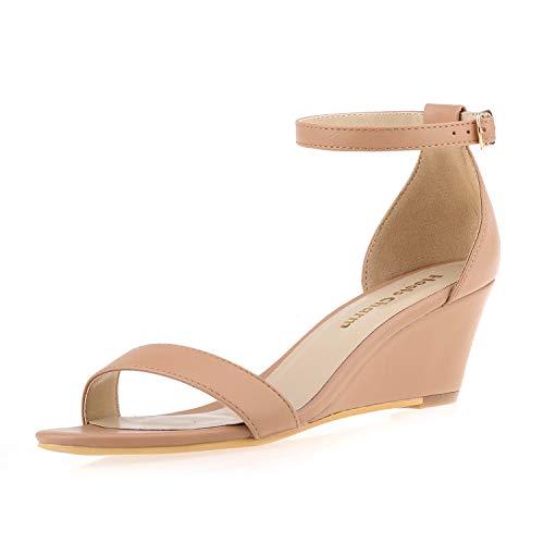 1ad15a65f8d Women s Wedge Sandals Open Toe Ankle Strap Heel Sandals 2 Inch Platform  High Heels Dress Shoes