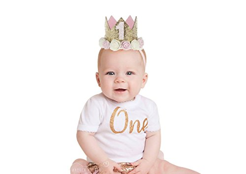 PoshPeanut Birthday Crown First Party Hat For Girls With Sparkle Pink and Gold Flower Design