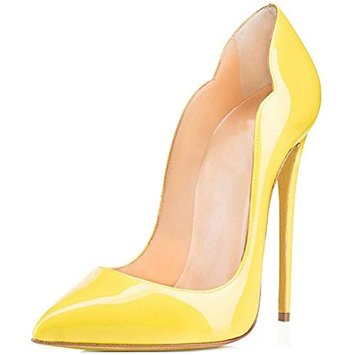 Comfity Stiletto Pumps Heel Pointed Shoes for Women Sexy All Patent Leather Pump High-Heeled Basic Shoe 12CM Thick Elegant Wedding Party Queen Heels Yellow 8.5