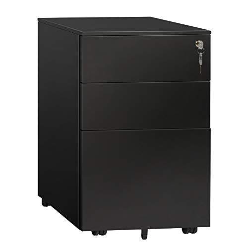 - DEVAISE 3 Drawer File Cabinet with Lock, Steel Mobile Filing Cabinet, Office Pedestal, Fully Assembled Except Casters