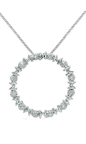 Jewel Zone US White Natural Diamond Accent Mom Circle Pendant Necklace 14k White Gold Over Sterling Silver