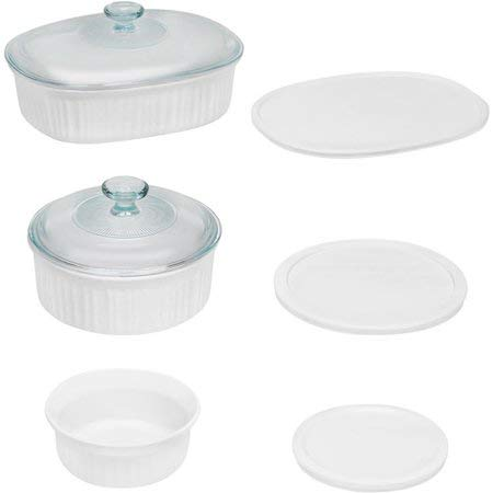 CorningWare French White 8-Piece Round and Oval Baking Casserole Set