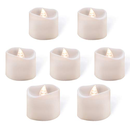Homemory Bright White LED Tea Light Candles, Flickering LED Tea Lights, Battery Operated Candles [Pack of 12] -