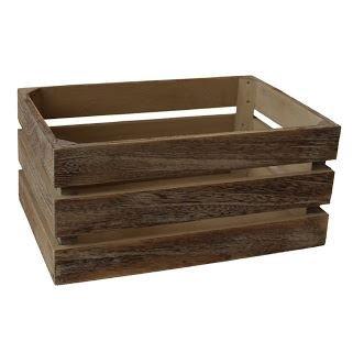 Red Hamper Large Oak Effect Slatted Wooden Storage Crate