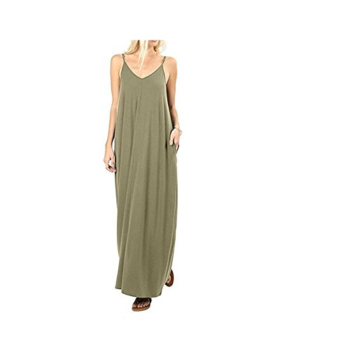 Loose Summer YOUTO Plain Pockets Dress Dress with Woman Maxi Spaghetti Armygreen Strap Neck Casual V gWWYt4