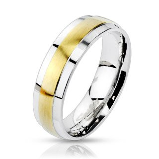 Jinique STR-0144 Stainless Steel 2-Tone Gold IP Center Grooved Band Ring; Comes With Free Gift Box