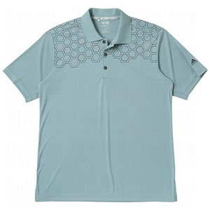 adidas Mens Climacool Hexagon Chest Print Relaxed Polo Shirt (X-Large, Glacier/Navy) ()