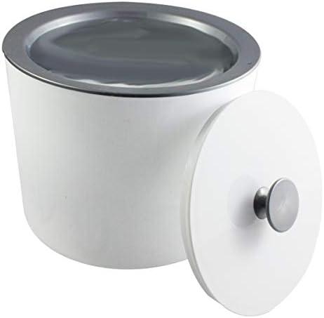MeinTablett Eiswürfelbehälter mit Deckel und silbernem Innenbehälter, für Eiswürfel, Eisbehälter, Eiskühler