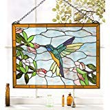 (Hummingbird Stained Glass Window Panel, Vivid Colors, Opalescent Glass, Indoor and Outdoor)