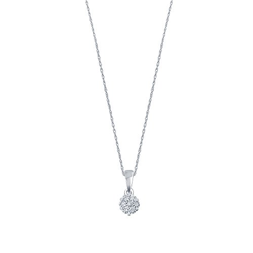 La Joya 1/6 cttw Round White Diamond 10K White Gold 7stone Diamond Flower Pendant for Teens - White Flower Gold Pendant Diamond