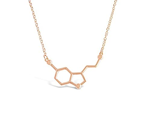 "Rosa Vila Happiness Serotonin Molecule Necklace, Happiness Neurotransmitter Necklace, Organic Chemistry Jewelry for Science Lovers, Science Major College Graduation Jewelry, 19"" Chain (Rose Gold (Rose Gold Tone Chain)"