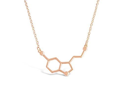 Happiness Molecule Serotonin Molecule Necklace for Pursuit of Happiness and Wish for Well-being, Unique Nerdy Science DNA Chemical Pendant Necklaces (Rose Gold Tone)