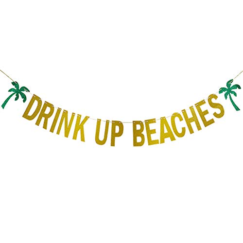 Gold Glittery Drink Up Beaches Coconut Tree Banner- Hawaii Luau Summer Beach Party Decoration Supplies -