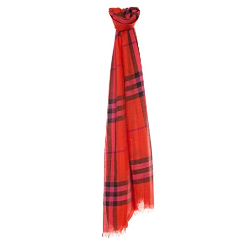 Burberry Women's Check & Silk Scarf Red Orange