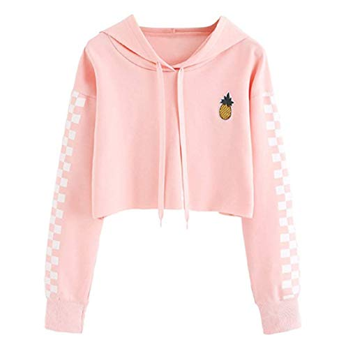 (Women's Cute Crop Top Teen Girls Cropped Hoodie Pineapple Print Sweater Color Block Jacket Sweatshirt Jumper Pullover Tops (Pink, S))