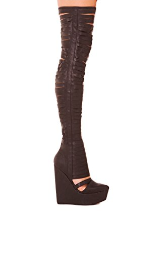 Jeffrey Campbell Gashed Zwart Lederen Sleehak Platform Dij Hoge Laarzen