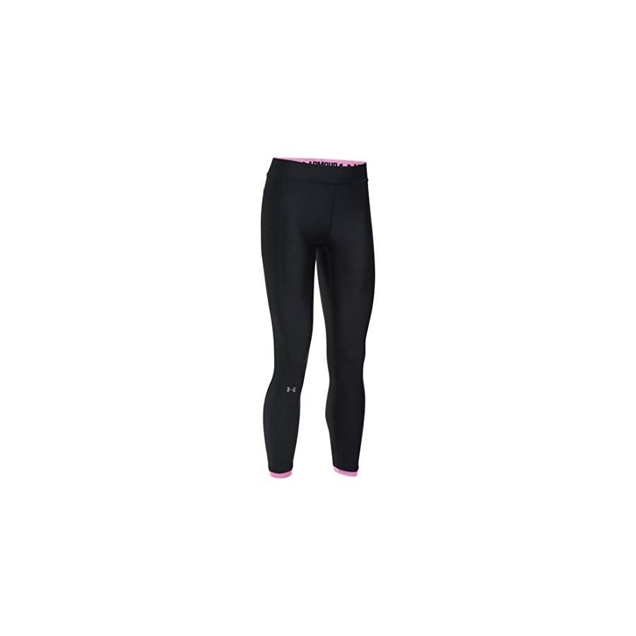 Under Armour Women's HeatGear Ankle Crop Pants,Black /Metallic Silver, X Small