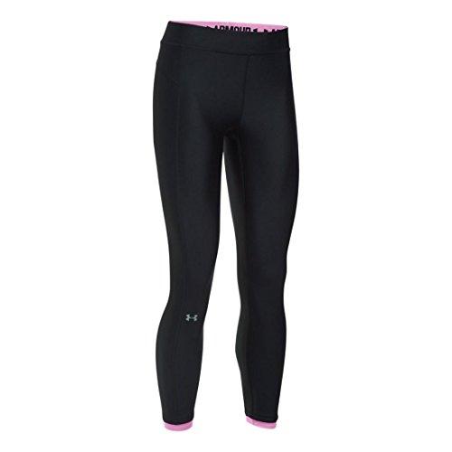Under Armour Women's HeatGear Ankle Crop Pants,Black/Metallic Silver, X Small