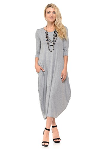 (Pastel by Vivienne Women's Cocoon Midi Dress Medium Heather Grey)