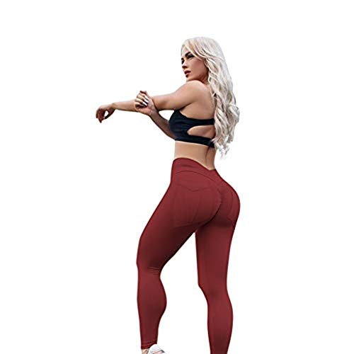 Mnyycxen Women Push Up Yoga Pants Leggings High Waist Waistband Workout Sport Fitness Gym Tights Wine Red