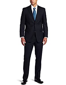 B005HGTTXG Tommy Hilfiger Men's 2 Button Side Vent Trim Fit Suit with Flat Front Pant,  Navy, 38 Long
