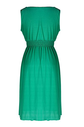 G2 Chic Women's Mid-Length Solid Summer Dress(DRS-CAS,GRNA3-S)