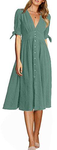 Sleeve Half Neck Party A Women's Green Waist Line Swing V FANEW Midi Button Dress High Down Casual Deep WqR0wnYF