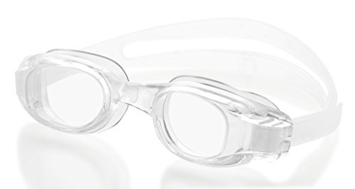 (Beemo Swimming Goggles for Adults - Clear- White - Universal Leak Resistant Eye-Socket Fit, Ultra UV Protection, Fully Adjustable Latex Free Split Strap)