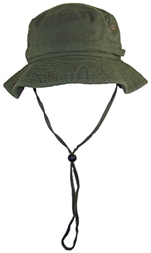 Solid Wing Floppy/Bucket Summer Hat W/Snap Up Sides, Chin Strap & Mesh Air Holes - Olive Large -